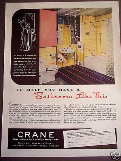 Crane Bathroom Fixtures 30's Decor (1938)