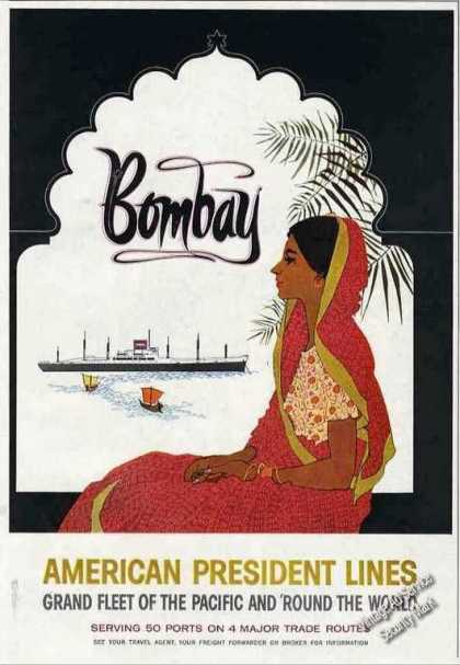 American President Lines To Bombay Nice Period Art (1957)