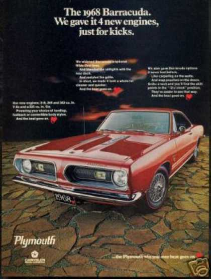 Plymouth Red Cuda Barracuda Vintage Photo (1968)