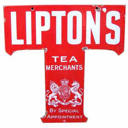 Lipton's T cutout hanging sign red