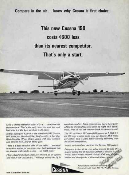 Cessna 150 Photo &quot;Compare In the Air&quot; (1964)