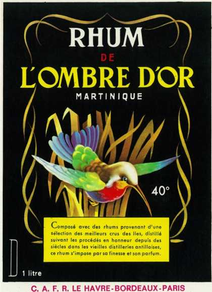 Rhum de Lombre d'Or Martinique Brand Rum Label