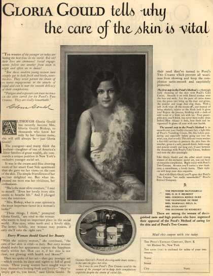 Pond's Extract Co.'s Pond's Cold Cream and Vanishing Cream – Gloria Gould tells why the care of the skin is vital (1924)