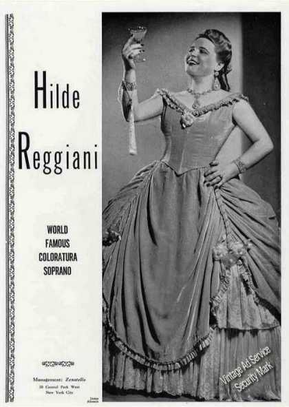 Hilde Reggiani World Famous Coloratura Soprano (1945)