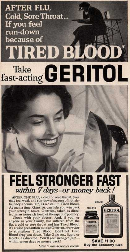 Unknown's Geritol – After Flu, Cold, Sore Throat... If you feel run-down because of Tired Blood Take fast-acting Geritol (1958)