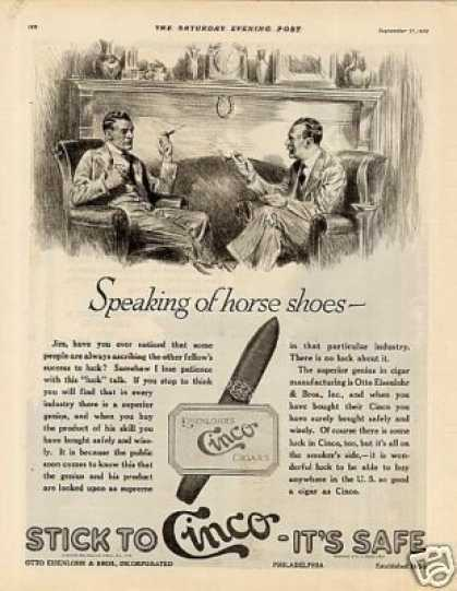 "Cinco Cigars Ad ""Speaking of Horse Shoes... (1919)"
