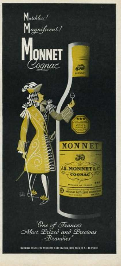 Monnet Cognac French Brandy Bottle (1952)