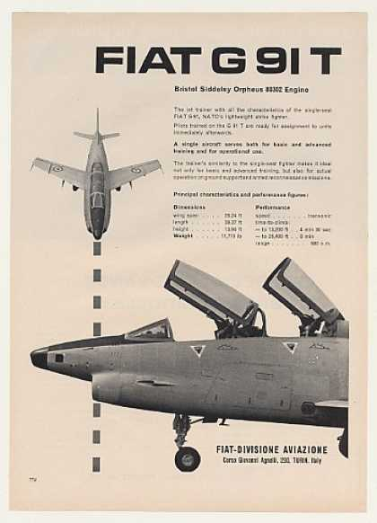 Fiat G 91 T Jet Trainer Aircraft Photo (1960)