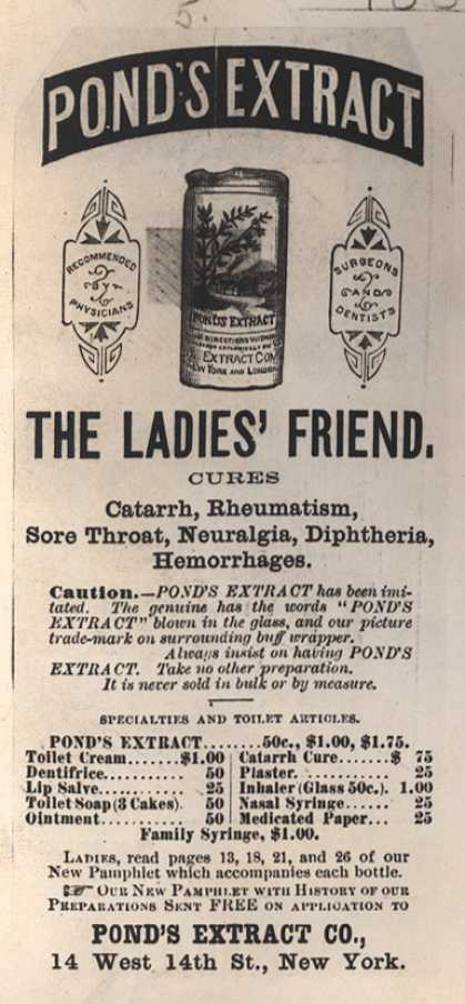 Pond's Extract Co.'s Pond's Extract – Pond's Extract. The Ladies' Friend. (1882)