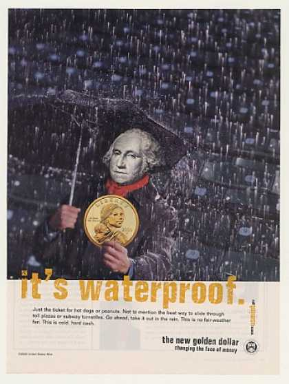 Gold Golden Dollar Its Waterproof US Mint (2000)