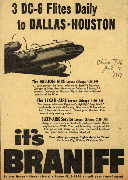 Braniff International Airway's Chicago to Texas – 3 DC-6 Flites Daily to Dallas, Houston (1951)
