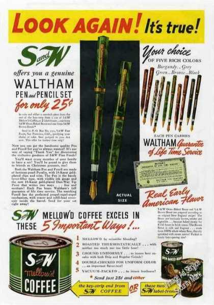 S and W Mellow'd Coffee Waltham Pen Offer (1940)