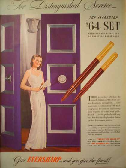Eversharp Pen Pens Give the finest (1944)