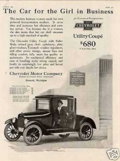 "Chevrolet Utility Coupe Ad ""The Car for the Girl.. (1923)"