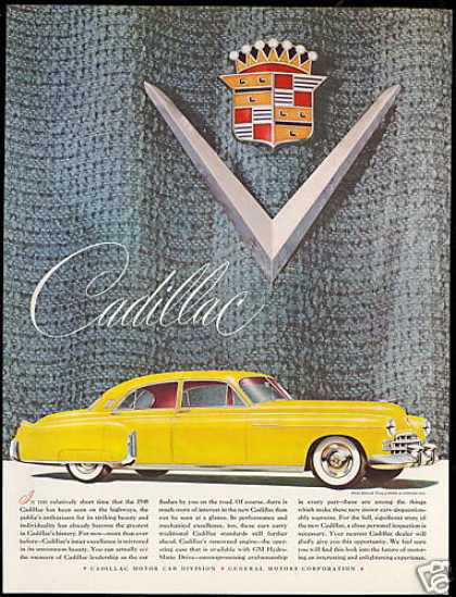 Cadillac Yellow 4 Door Car Vintage (1948)