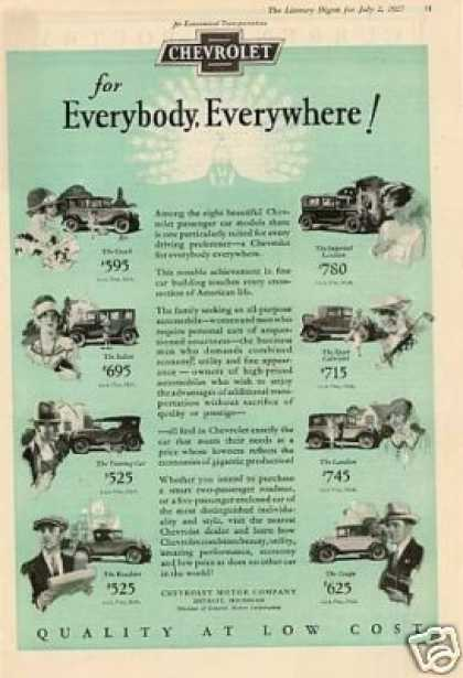 Chevrolet Cars Ad 8 Models (1927)