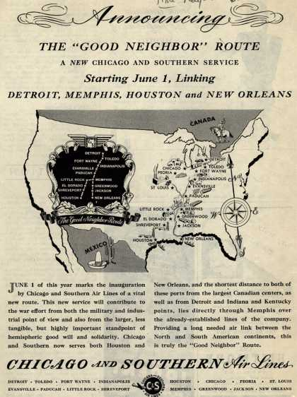 "Chicago and Southern Air Line's Good Neighbor Route – Announcing The ""Good Neighbor"" Route (1945)"