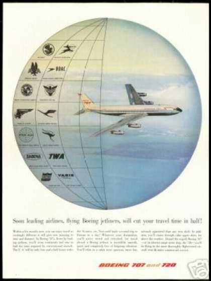 Boeing 707 Airplane Airlines AA BOAC etc (1958)