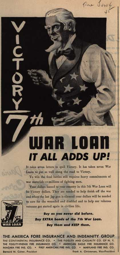 America Fore Insurance and Indemnity Group's 7th War Loan – War Loan It All Adds Up (1945)