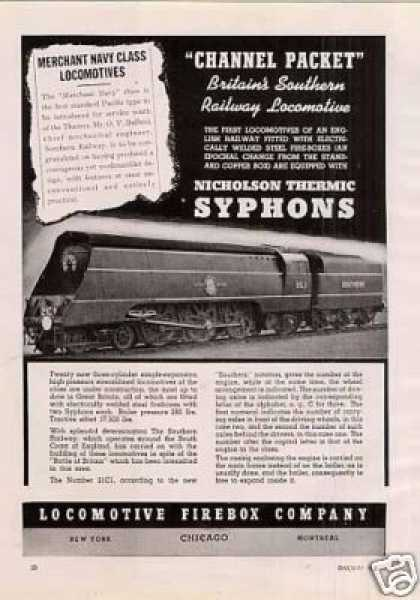 Locomotive Firebox Ad Southern Ry (uk) 4-6-2 #21c1 (1941)