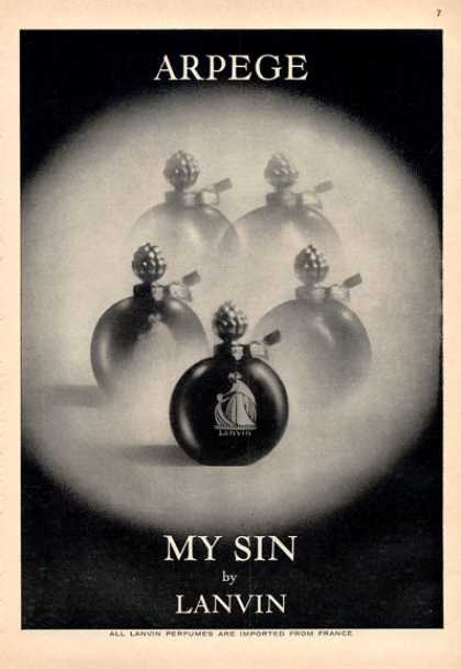 Lanvin My Sin Perfume Arpege Bottle (1964)