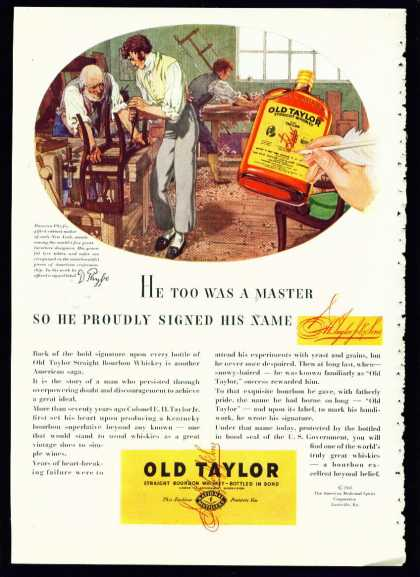 Old Taylor Bourbon Whiskey Ad With Duncan Phyfe (1935)