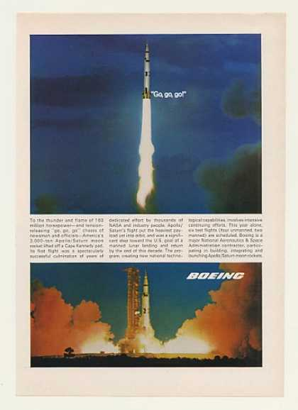 Boeing Apollo Saturn Moon Rocket Lift Off Photo (1968)