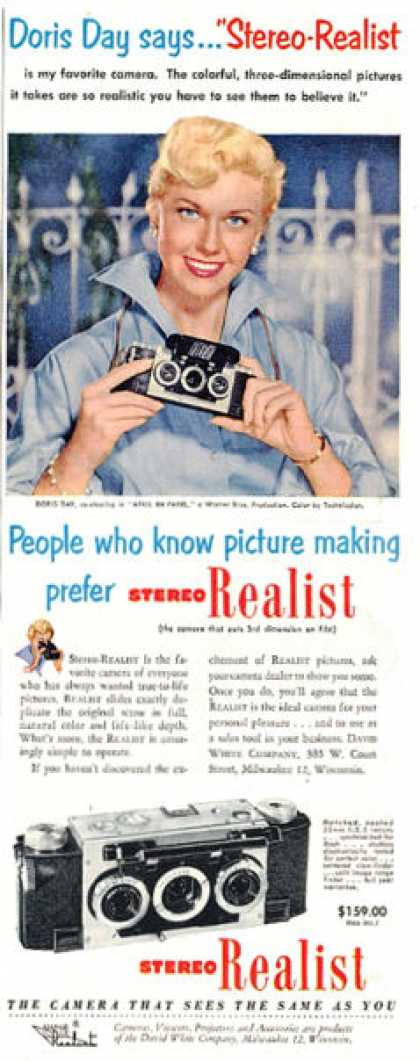 Stereo Realist Camera Ad Doris Day (1953)