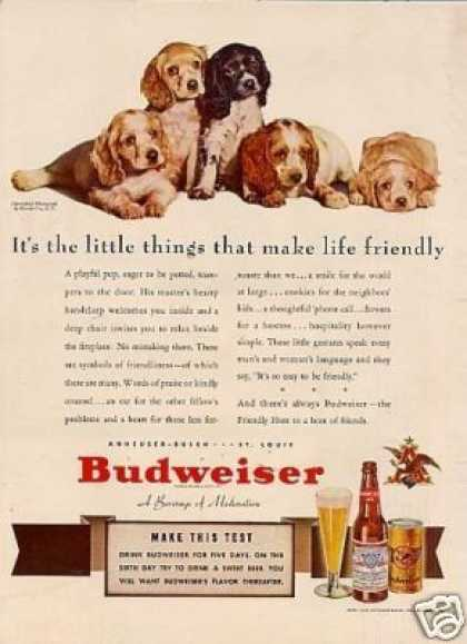 "Budweiser Beer Ad ""It's the Little Things... (1941)"