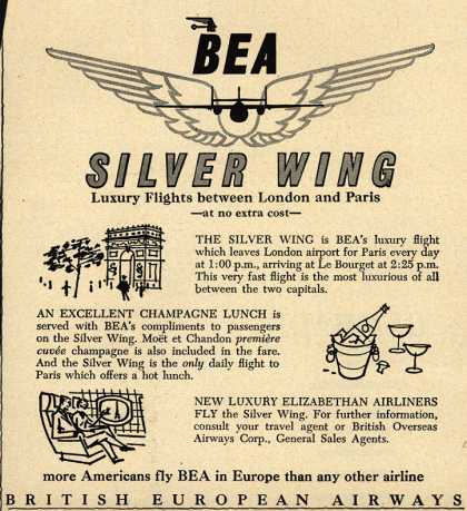 British European Airway's Paris – BEA Silver Wing Luxury Flights Between London and Paris (1952)