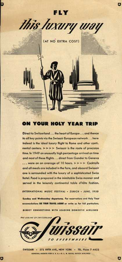 SwissAir's Switzerland – Fly this luxury way on Your Holy Year Trip (1950)