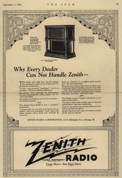 Zenith Radio Corporation's Radio – Why Every Dealer Can Not Handle Zenith- (1925)