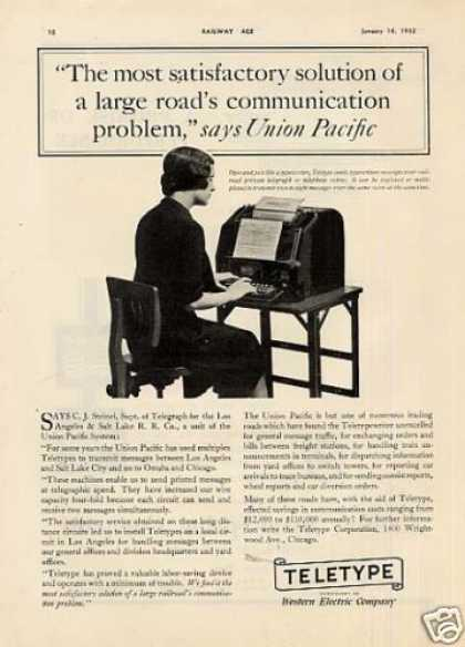 "Teletype Ad ""The Most Satisfactory... (1932)"