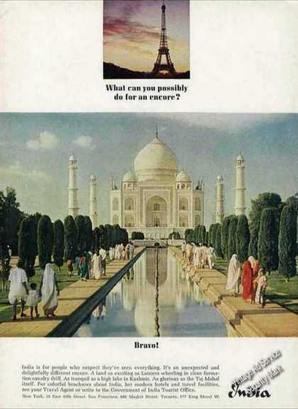 Beautiful Taj Mahal Photo India Travel (1964)