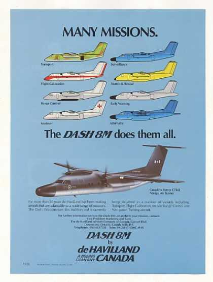 De Havilland Dash 8M Aircraft Many Missions (1987)