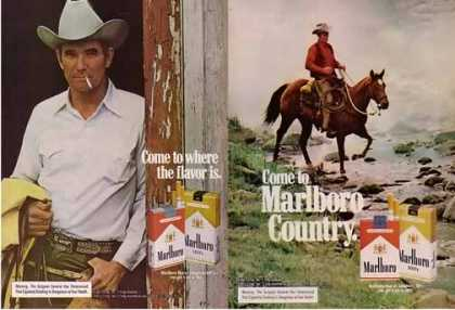 Marlboro Cigarettes Ads – Real Cowboys Set of 2 (1975)