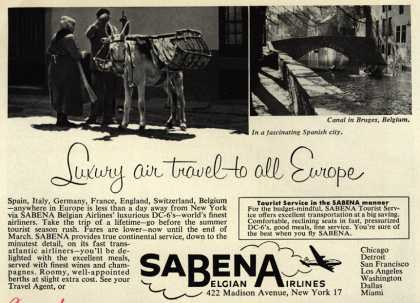 Sabena Belgian Airline's Europe – Luxury air travel to all Europe