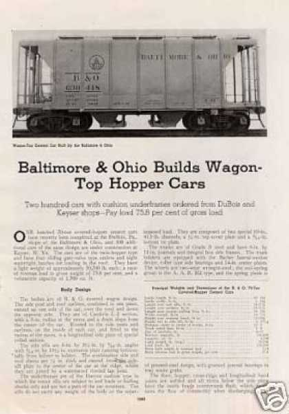 """B&o Builds Wagon-top Hopper Cars"" Article (1940)"