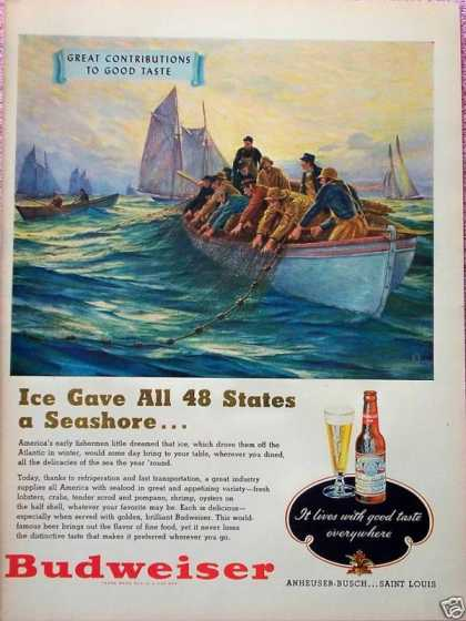Budweiser Beer Fishermen Ice Gave All Seashore (1948)