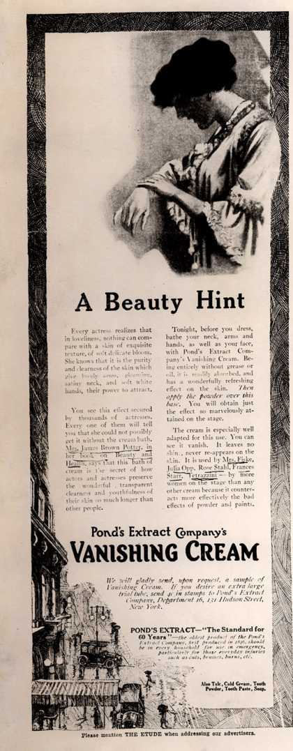 Pond's Extract Co.'s Pond's Vanishing Cream – A Beauty Hint (1913)