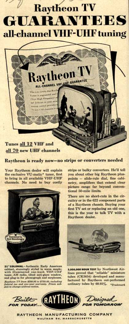 "Raytheon Manufacturing Company's 21"" Colonial – Raytheon TV Guarantees all-channel VHF-UHF tuning (1953)"