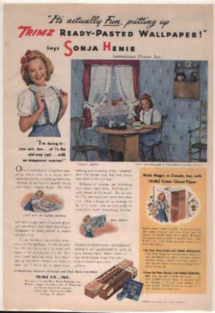 Trimz Ready-Pasted Wallpaper – Sonja Henie (1944)
