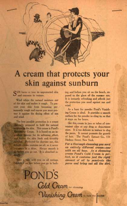 Pond's Extract Co.'s Pond's Cold Cream and Vanishing Cream – A cream that protects your skin against sunburn (1922)