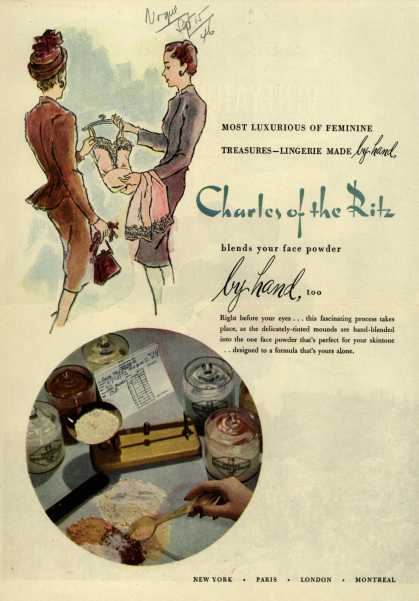 Charles of the Ritz's Cosmetics – Most Luxurious of Feminine Treasures – Lingerie Made by hand (1946)