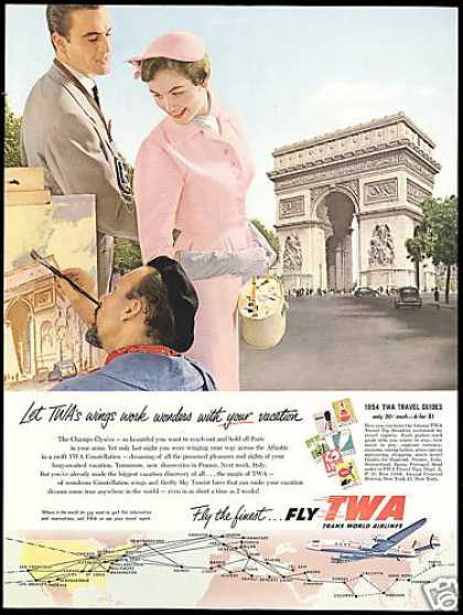 TWA Airlines Paris France The Champs Elysees (1954)