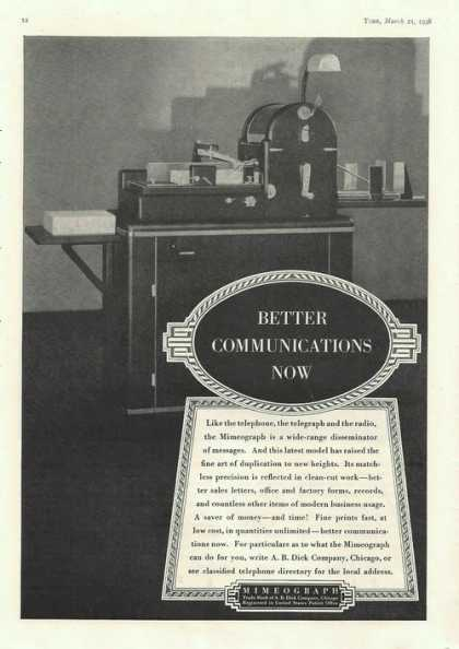 Mimeograph Machine a B Dick Co (1938)
