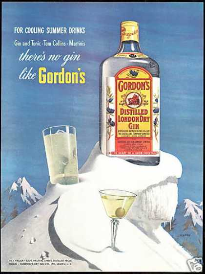 Gordon's London Dry Gin Bottle Kapra Art (1954)