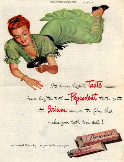 Lever Brothers Company's Pepsodent Dental Cream – Its cleaner brighter Taste (1945)