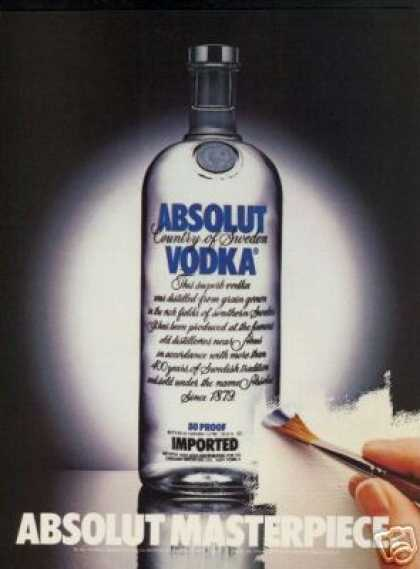 Absolut Vodka Masterpiece Bottle Photo (1983)