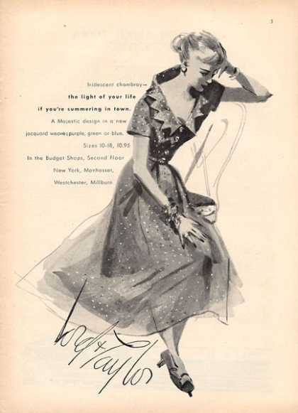 Lord & Taylor Chambray Fashion Dress Art (1949)